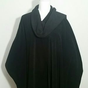 Large black cape with attached scarf